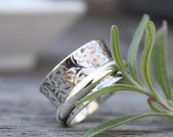 Spinner Ring Sterling Silver, Meditation Ring, Textured Spinner Ring, Wide Sterling Silver Ring