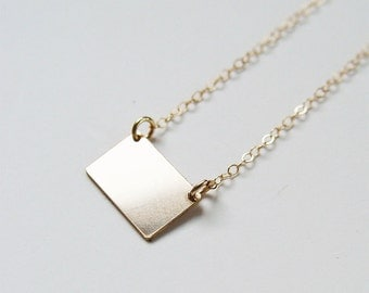 Gold Bar Rectangular Necklace