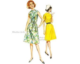 Easy Sleeveless Dress Pattern Butterick 2625, 1960s Dress Vintage Sewing Pattern, Bust 34, Uncut