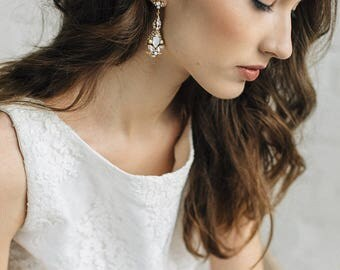 Wedding Earrings Gold , Bridal  Earrings , Antique Gold Earrings ,Chandelier  Earrings , Bridal Crystal Earrings , Vintage Wedding Earring