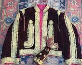 Antique Velvet Jacket / Ottoman Jacket/ Cropped jacket/ Coin purse/ Victorian clothing / Velvet / Satin / Gold Thread /  Embroidery