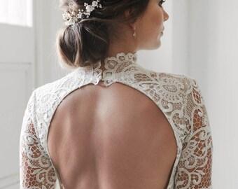 SOMERSET | delicate floral bridal headpiece, gold bridal hair piece, delicate reverse tiara