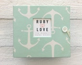 BABY BOOK | Mint Sailor Anchors Baby Book - Ruby Love Modern Baby Memory Book