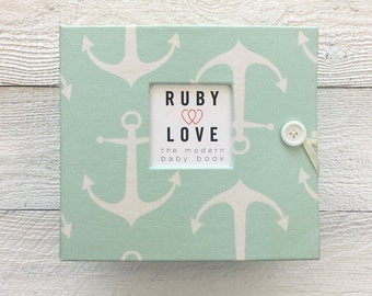 BABY BOOK | Mint Sailor Anchors Album