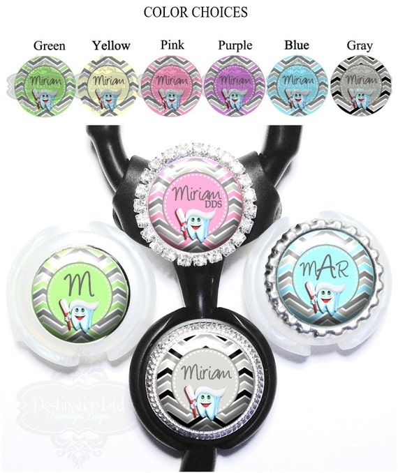 Stethoscope Id Tag - Chevron Dental Tooth and Paste Littmann Identification in 6 Colors Personalized with Name, Monogram, Occupation (A394)