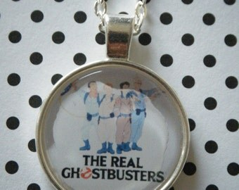 The Real Ghostbusters retro cartoon round silver pendant necklace