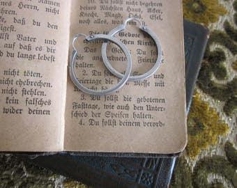 Sterling Silver medium lever hoop earrings