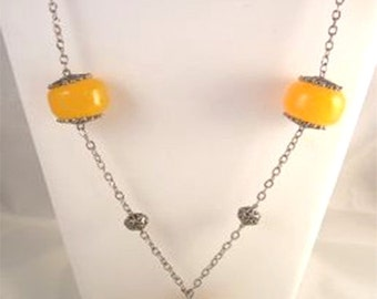 Vintage Large Amber Bead Necklace