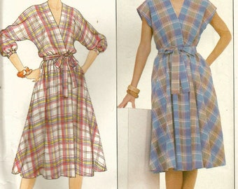 Vintage 80s Butterick 4392 UNCUT Misses Wrap Dress with Dolman Sleeves Sewing Pattern Size 18-22 Bust 40-44