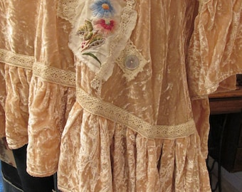 Vintage Kitty, French Market Tunic, gorgeous blush silk velvet, vintage embroidery, lace, mother of pearl, sanderson linen, roses..  med/lge