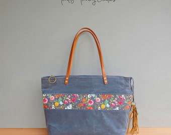 Personalized Floral Waxed Canvas Tote, Grey Zipper Tote Bag with Colorful Flower Accent and Tassel, Large Bag with Leather Straps, USA