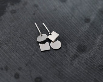 Circle Square silver earrings