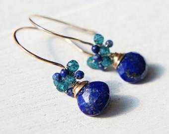 Lapis Lazuli Drop Earrings, Blue Gemstone Earrings, Cluster Earrings, Heart Drop Dangle Earrings