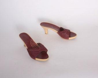 Vintage 70s SANDALS / 1970s Boho Woven Burgundy LEATHER Peep Toe Candies Style Heels 7
