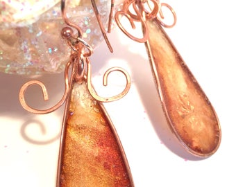 Hand painted Rice Paper and Copper Dangle Earrings