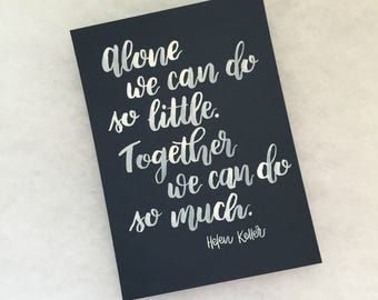 Helen Keller Quote - White and Dark Blue, Watercolor Print 5x7