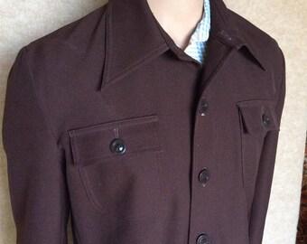 Vintage JC Penny Brown Button Up Shirt/Jacket 1970s Leisure Suit
