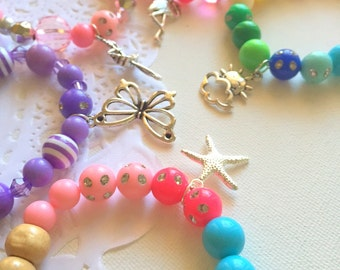 SURPRISE pack, kids bracelets, childrens jewelry, beaded party favor, gift, SET of TEN.