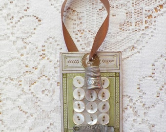 Vintage Notions Embellished Vintage Button Card Ornament, Gift / Present Tag, Mixed Media, Green and Cream OOAK, Thimble, Quilter / Sewer