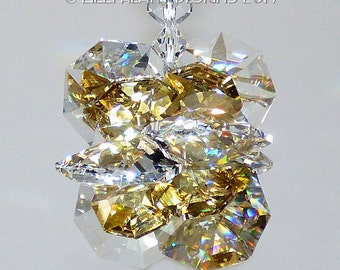 m/w Swarovski Crystal Limited Edition RARE Octagon Suncatcher SUPER STAR  in Translucent Gold and Clear Starburst by Lilli Heart Designs