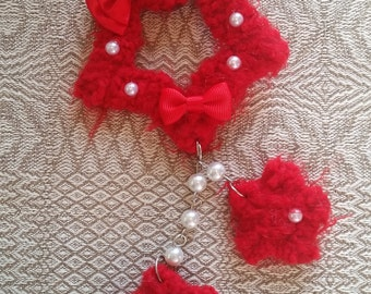 2-Way Red Simple Bow Fuzzy Shooting Star Barrette/Pin