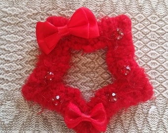 2-Way Red Crystal Bow Fuzzy Star Barrette and Pin Combo