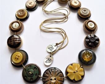 SAFARI - VINTAGE BUTTONS Handmade Necklace - one off design