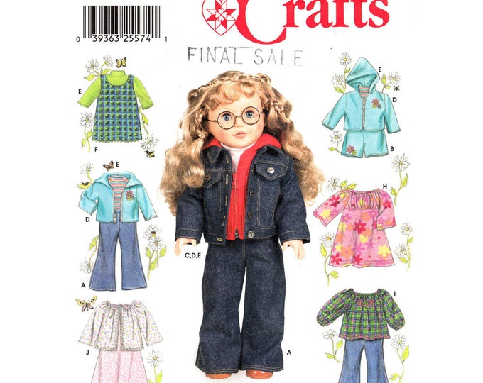 Simplicity 7083 American Girl Doll Clothes Pattern 18 Inch Hoodie Jacket Top Pants Nightgown