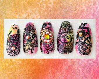 Boho Sunshine XL Coffin Fake Nails |  Ballerina Press On Nails | Boho Hippie Free Spirit | Tie Dye Summer False Nails |  Acrylic Nail Art