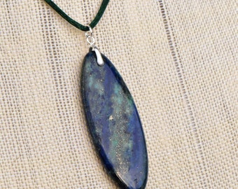 Lapis Lazuli Long Oval Pendant Necklace with Sterling Silver Pinch Bail and Black Satin Cord with Silver Tone Lobster Clasp