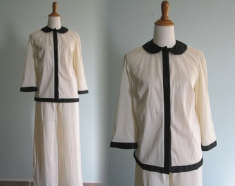 Classic 60s Black and White Pajamas by Vanity Fair - Vintage Chic Vanity Fair Pajamas - Vintage 1960s Pajamas S M Size 34