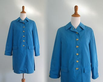 Vintage 60s Trench - Pretty 60s Sky Blue Short Trench Coat with Yellow Buttons - Vintage Mod Blue Jacket - Vintage 1960s Rain Coat M