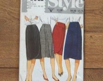 vintage 1983 style pattern 4001 misses front wrap skirt button fastening waistband sz 12-14-16  uncut