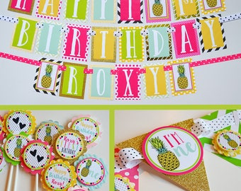 Pineapple Birthday Party Decorations Fully Assembled | Party Like a Pineapple | Modern Pineapple Party | Pineapple Birthday