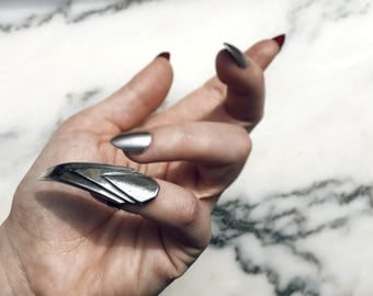 Stiletto Nail Ring, Finger Claw Ring, Coffin Shaped, Sterling Silver