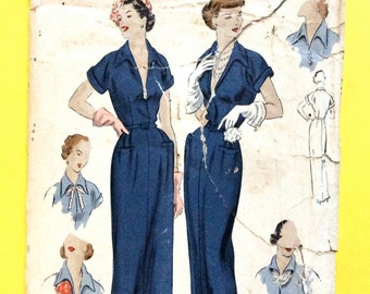 1950s Vogue 6770 Day DRESS or Evening Dress with Welt Pockets Vintage Sewing Pattern Bust 30