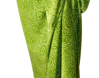 Chartreuse Sarong Women's Clothing Wrap Skirt - Batik Pareo Green Starry Nite Motif - Hawaiian Style Sarong Skirt - Beach Sarong Cover Up