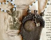 Vintage Wire Mesh Purse with Vintage Love Token