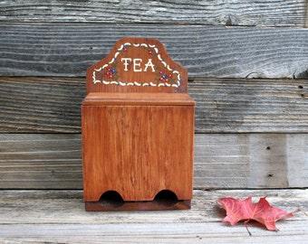 Vintage Wall Hanging Wood Tea Box