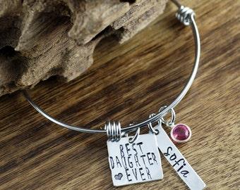 Best Daughter Ever Bracelet, Daughter Charm Bracelet, Personalized Bangle Bracelet, Name Bracelet, Gift for Daughter, Gift for Mom