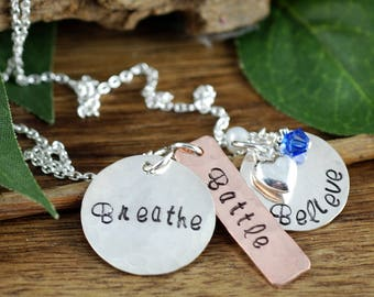 Inspriational Necklace | Breathe Battle Believe | Hand Stamped Necklace | Encouragement Necklace | Motivational Jewelry | Cancer Inspiration