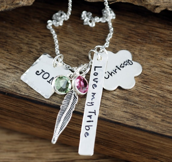 Personalized Mothers Necklace, Hand Stamped Family Necklace, Family Necklace, Love my Tribe Necklace, Feather Jewelry, Mothers Necklace
