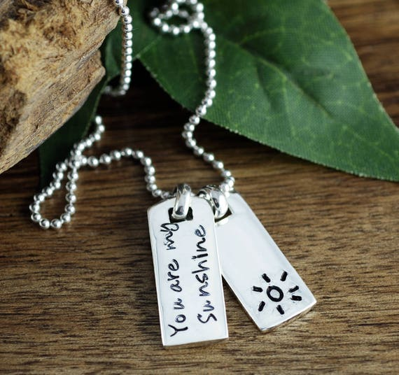 You are my sunshine Necklace, Dog Tag Necklace, Mini Dog Tag Necklace, Personalized Mothers Necklace, Gift for Mom, Mothers Day Gift