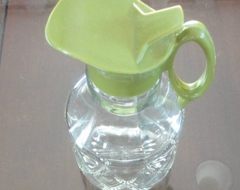 60s Syrup Pourer Green Top/ Handle Diamond Pattern Pressed Glass Twinpak