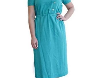 60s turquoise dress small, vintage dress tea length, 1960s clothing cotton