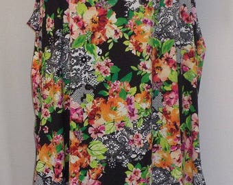 Plus Size Tank Top, Coco and Juan, Lagenlook,  Pink, Roses and Lace Print Knit Angled, Tank Top, Size 1 Fits 1X,2X Bust  to 50 inches