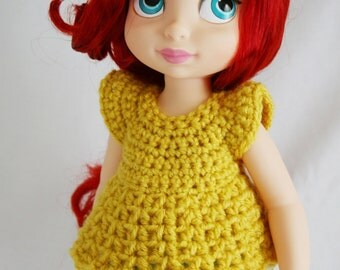 Crochet Pattern for Disney Animator Dolls - Bell Sleeve Doll Top or Dress  with Permission to Sell Instant Download