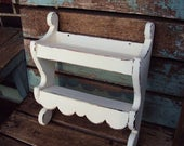 Vintage Shabby Chic Shelf Spice Rack Cabinet Wood Wall Hanging Display Cupboard Jars French Country Farmhouse Decor Chippy Distressed paint