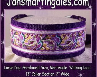Janmartingales,  Walking Lead, Dog Collar and Leash Combination, Greyhound, Large Dog Size, Pur170