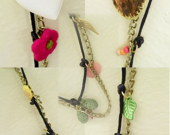 Silk Corded Chain with Wool Silk Fabric Beaded and Crochet Charm Necklace